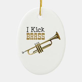 I Kick Brass Ceramic Ornament