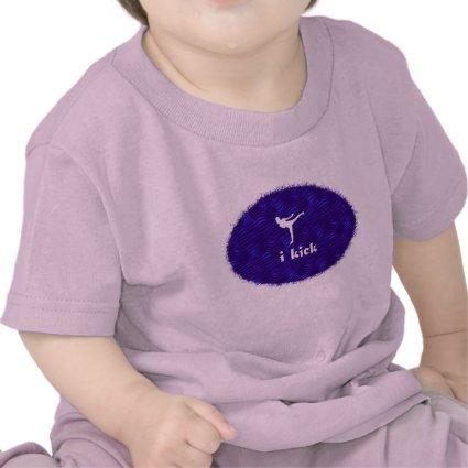 i kick /side kick on blue-violet waves t-shirt
