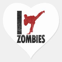 I Kick Zombies Heart Sticker