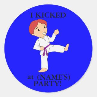 I Kicked party stickers