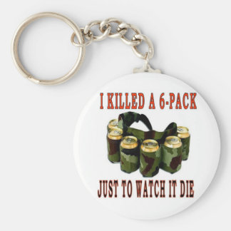 I KILLED A 6 PACK BASIC ROUND BUTTON KEYCHAIN