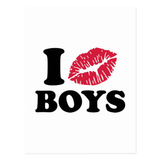 I kiss boys postcard
