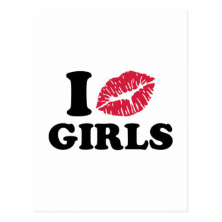 I kiss girls postcard