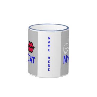 """I Kiss My Cat Cup"" Ringer Coffee Mug"