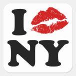 I Kiss New York Square Sticker