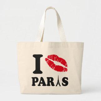 I kiss Paris Large Tote Bag