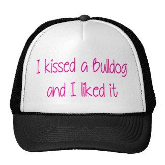 I kissed a bulldog pink.png trucker hat
