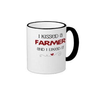 I Kissed a Farmer and I Liked It Ringer Coffee Mug