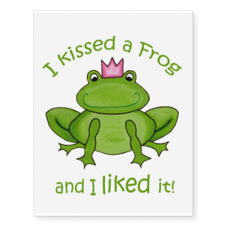 I kissed a Frog Temporary Tatoos Temporary Tattoos