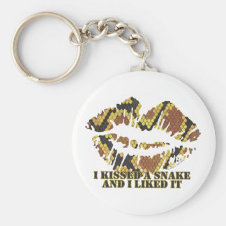 I Kissed a Snake Brown and Gold Print Keychain