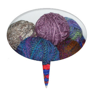 I Knit Bowl of Colorful Yarn Cake Topper