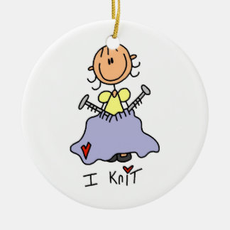 I Knit Ceramic Ornament