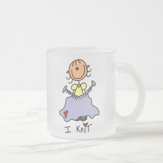 I Knit Frosted Glass Coffee Mug
