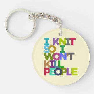 I Knit So I Won't Kill People Keychain