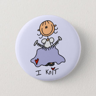 I Knit Stick Figure Tshirts and Gifts Pinback Button