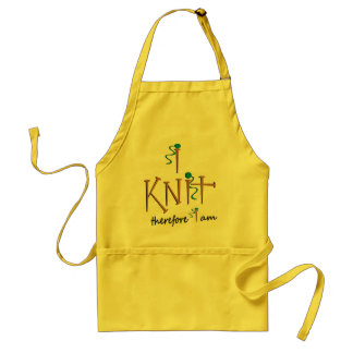 I Knit Therefore I Am With Knitting Needles & Yarn Adult Apron