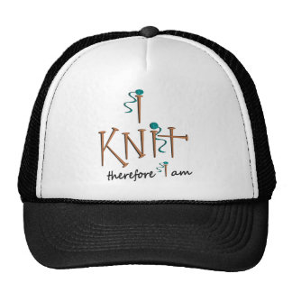 I Knit Therefore I Am With Knitting Needles & Yarn Trucker Hat