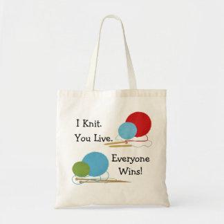 I Knit You Live Funny Knitting Design Tote Bag