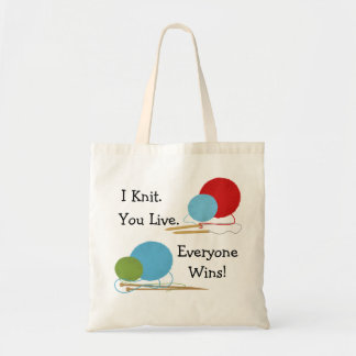 I Knit, You Live Funny Knitting Design Tote Bag