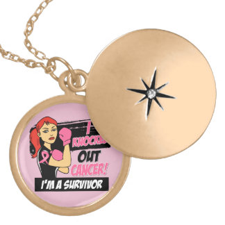 I Knocked Out Breast Cancer Locket