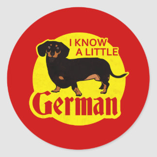 I Know A Little German Classic Round Sticker