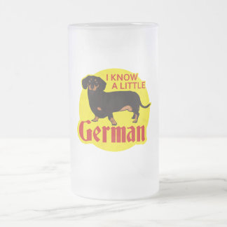 I Know A Little German Frosted Glass Beer Mug