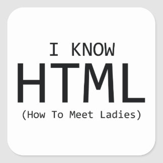 I Know HTML (How To Meet Ladies) Square Sticker