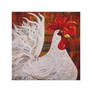 I Know I am Lovely White Rooster Canvas Print
