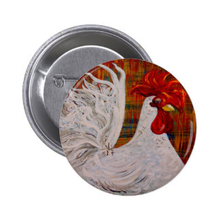 I Know I am Lovely White Rooster Pinback Button