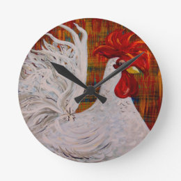 I Know I am Lovely White Rooster Round Clock
