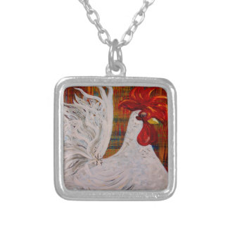 I Know I am Lovely White Rooster Silver Plated Necklace
