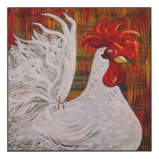 I Know I am Lovely White Rooster Wood Wall Art
