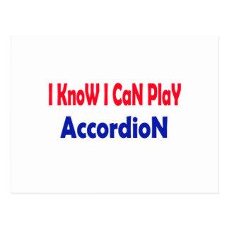 I know i can play accordion. postcard