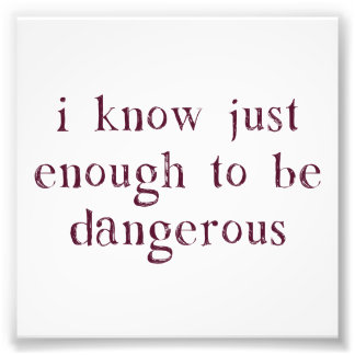 I Know Just Enough To Be Dangerous Art Photo