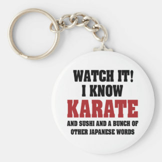 I Know Karate Basic Round Button Keychain