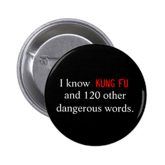 I know Kung Fu and 120 other dangerous words. Pinback Button