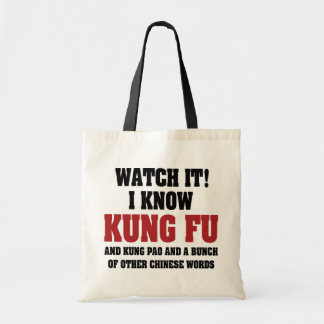 I Know Kung Fu and Kung Pao - Funny Martial Arts Tote Bag