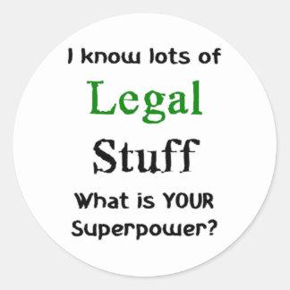 i know lots of legal stuff classic round sticker