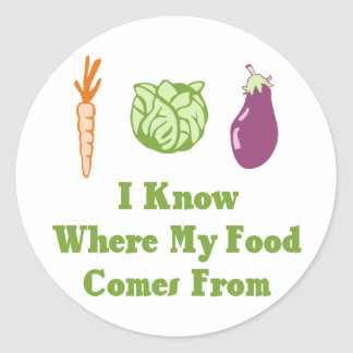 I Know Where My Food Comes From Classic Round Sticker