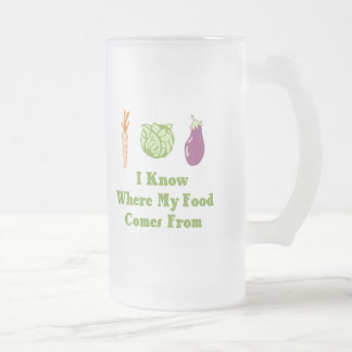 I Know Where My Food Comes From 16 Oz Frosted Glass Beer Mug