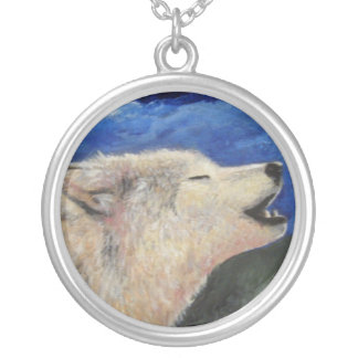 I Know Why the Wolf Howls Round Pendant Necklace