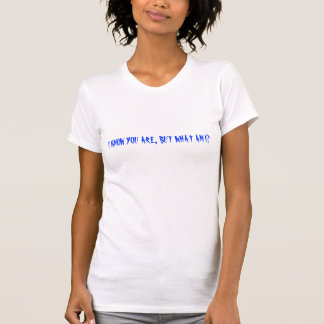 I KNOW YOU ARE, BUT WHAT AM I? SHIRT