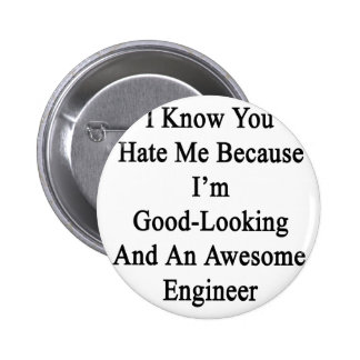 I Know You Hate Me Because I'm Good Looking And An Pinback Button