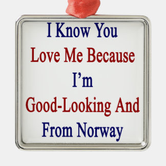 I Know You Love Me Because I'm Good Looking And Fr Metal Ornament