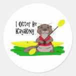 I la nutria Kayaking Etiqueta Redonda