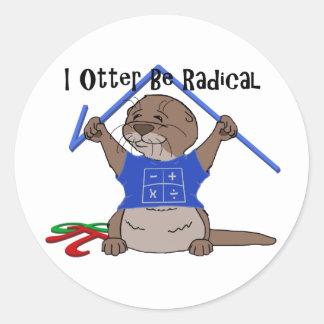 I la nutria sea radical pegatina redonda