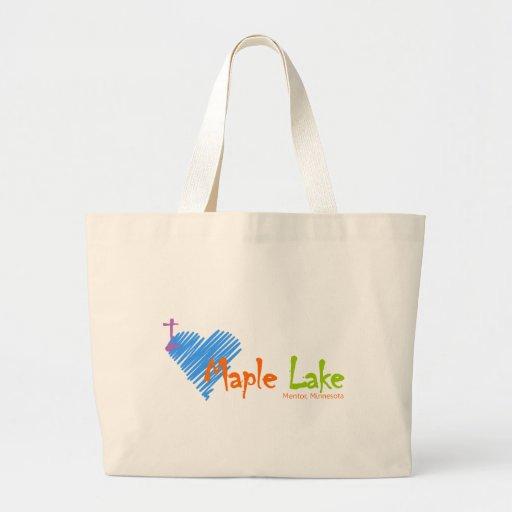 I lago maple del corazón bolsa tela grande