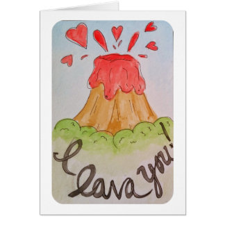 I lava you I love you watercolor valentine Greeting Card