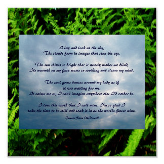 I lay and look at the sky,...Poem Poster-by Me Poster
