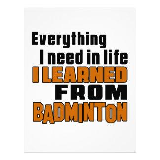 I learned From Badminton Letterhead
